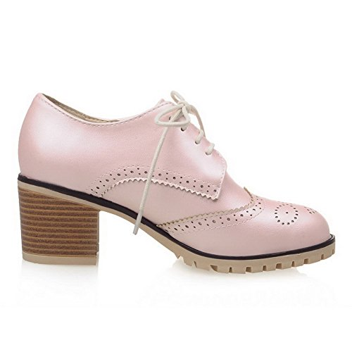 Allhqfashion Mujeres Lace Up Round Toe Kitten Tacones Cerrados Solid Pumps-Zapatos Pink