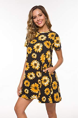 - Coreal Women Short Sleeve T-Shirt Swing Dress with Pockets Knee-Length Casual Loose Tunic Dress Black Daisy X-Large