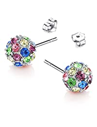 SiBeXu Multicolored Unique Ball Shaped 18k White/rose Gold Plated Swarovski Crystal Zircon Austria Quartz Rhinestone Earrings