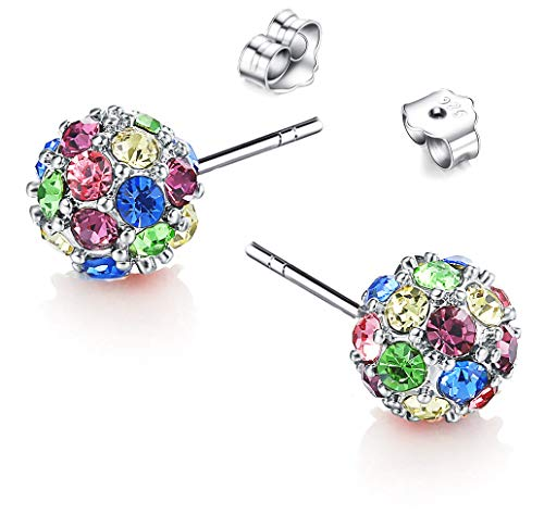 Beautiful Crafted Multicolored Unique Ball Shaped 18k White/rose Gold Plated Swarovski Crystal Zircon Austria Rhinestone Earrings Pierced Eardrop Stud Bridal Wedding Engagement Jewelry E203(b) (Fit Pierced Earrings Swarovski)