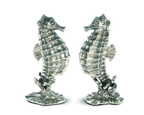 (Vagabond House Pewter Metal Nautical/Ocean Seahorse Salt and Pepper Shaker Set - 4.5
