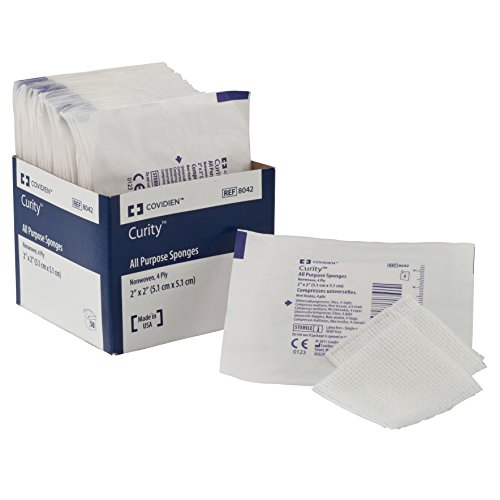 Covidien 8042 Curity Non-Woven All-Purpose Sponge, Sterile 2's in Peel-Back Package, 2' x 2', 4-ply (Pack of 50)