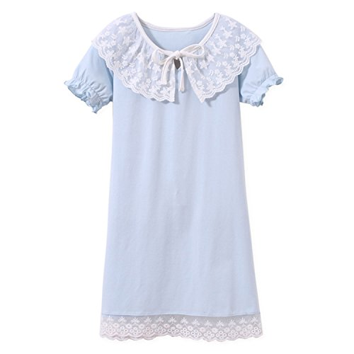 AOSKERA Kiddos Girls' Cotton Nightgowns Lace Nightie Bowknot Sleep Shirt Blue for Size 7-8 ()