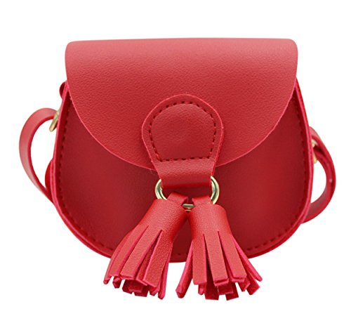 Crossbody for 9 PU 4 Mini Kids Coin red Bag 3 and Tassel 7 with Girls Small Purse Woman Handbags Satchel Shoulder Amamcy Leather HxBfHn