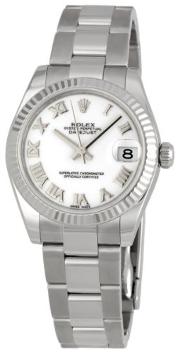 Rolex Datejust White Roman Dial Oyster Bracelet 18k White Gold Fluted Bezel Unisex Watch 178274WRO