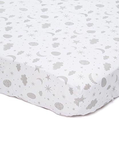 (Spasilk 100% Cotton Fitted Pattern Crib Sheet, Grey Celestial, Standard )