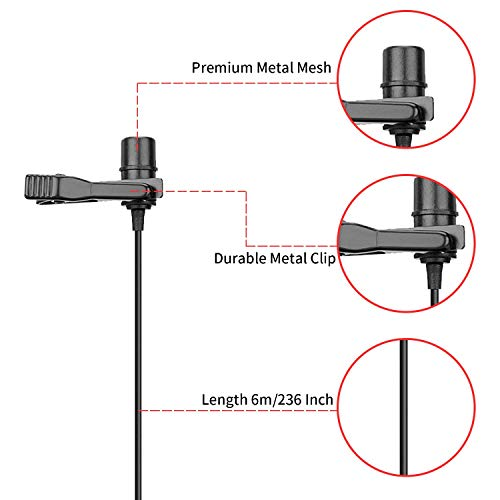BOYA by-M1 Pro Lapel Microphone, Clip-on Lavalier Mic for iPhone Adroid Smartphones, DSLR Camera Camcorders, Audio Recorders, PC Laptop Recording