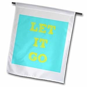 """3dRose fl _ 180147_ 2""""let It Go, amarillo letras sobre un fondo azul"""" bandera de Jardín, 18x 27"""""""