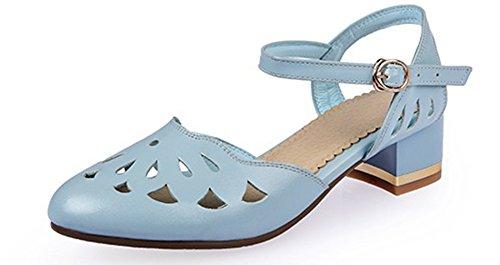 Scarpe Donna Easemax Ritaglio Chiuso Stivaletto Con Fibbia Cinturino Alla Caviglia Sandali Con Cinturino Alla Caviglia Blu