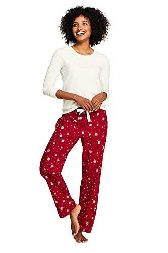 Lands' End Women's Knit Flannel Pajama Set, S, Rich Red Foil - Foil Snowflake