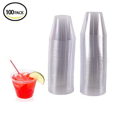 100 Premium Old Fashioned Plastic Cold Cups By Oasis Creations- 9 Ounce - Disposable Tumblers - Party Cups