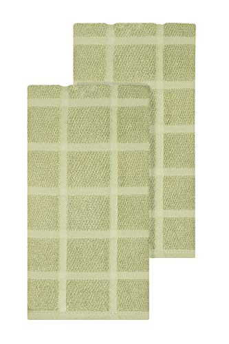 Ritz KitchenWears Cotton Solid Oversized Kitchen Dish Towel Set, 2-Pack, Cactus Green