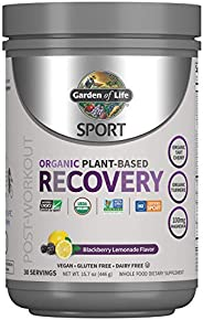 Garden of Life Sport Vegan Post Workout Muscle Recovery Powder for Men & Women - BlackBerry Lemonade 30 Se