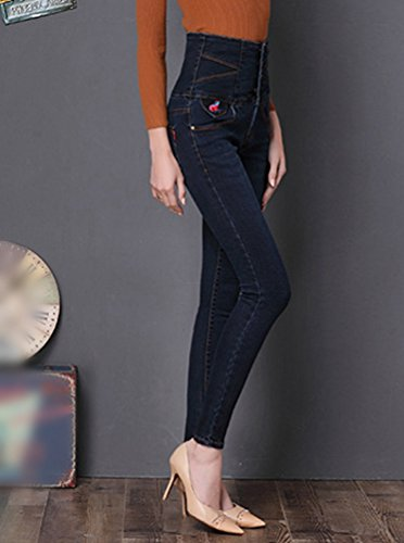Lunghi Blu Denim Slim Sentao Matita Nero Vintage Pantaloni Leggings Skinny Alta A Donna Jeans Vita nwvnOZ1q
