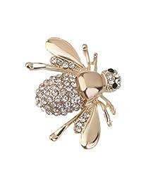 MonkeyJack Fashion Women's Honey Bee Rhinestone Brooch Pin Small Gold