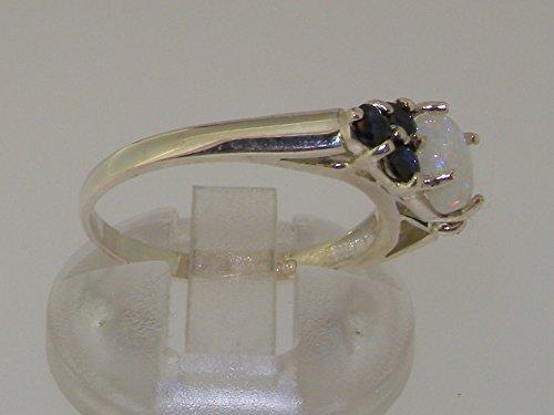 Haute Qualité Bague pour Femme en Argent fin 925/1000 sertie d'Opale et Saphir - Tailles 47 à 68 disponibles