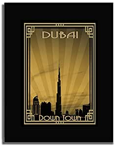 Dubai Skyline Down Town - Sepia With Gold Border F04-m (a5) - Framed