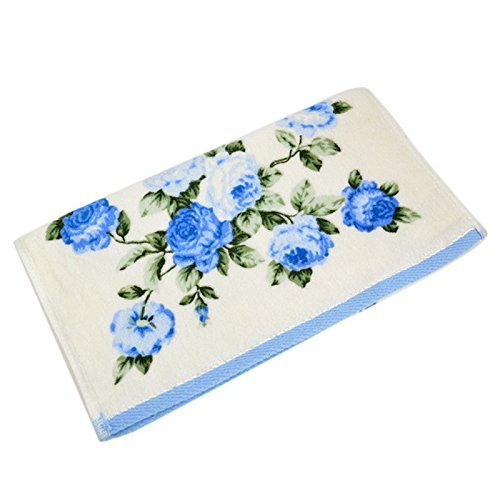 GXOK Microfiber Towel, Soft Cotton Face Flower Towel Bamboo Fiber Quick Dry Towels, 3475cm (Blue)