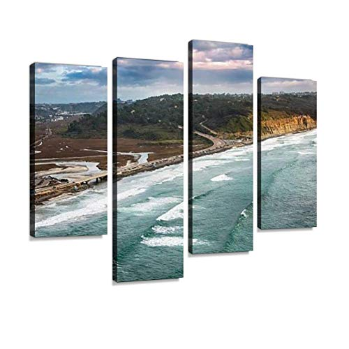 Aerial of Highway 101 Through Northern San Diego County Canvas Wall Art Hanging Paintings Modern Artwork Abstract Picture Prints Home Decoration Gift Unique Designed Framed 4 Panel (Best Choice Painting San Diego)