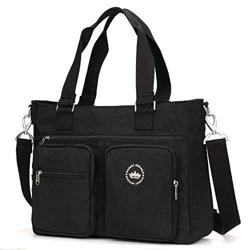 Crest Design Water Repellent Nylon Shoulder Bag Handbag, 14 inch Laptop Bag Notebook Briefcase Travel Work Tote Bag (Black)