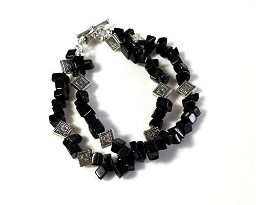Multistrand Blackstone Gemstone Bracelet with Antiqued-Silver Flower Beads and Toggle Clasp, Double Strands