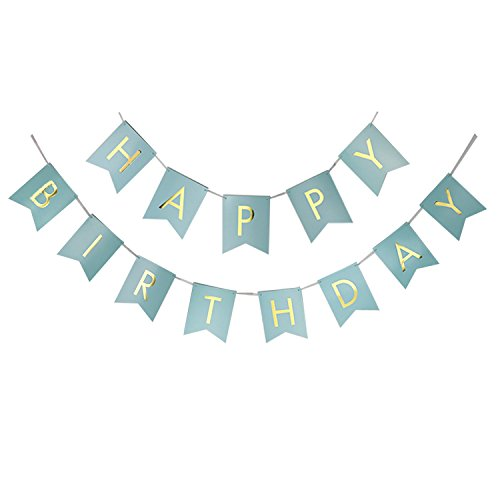 Do It Yourself Girl Halloween Costumes (Pastel Baby Blue Turquoise Happy Birthday Bunting Banner Bridal Shower Nursery Hanging Party Decoration Supplies with Shimmering Gold Foiled Letters)