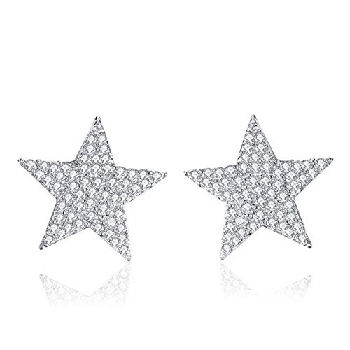 Czjewelry Star Stud Earrings for Women Fashion White Cubic Zirconia Pavé-Set Five-pointed Stars Earring