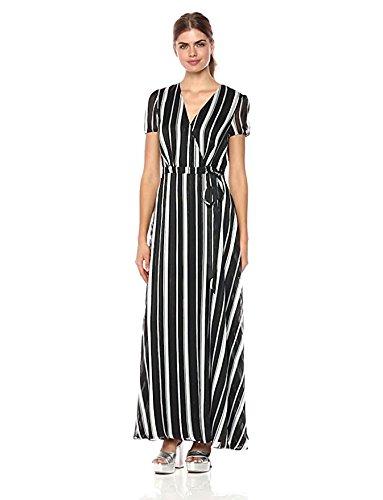 Wild Meadow Women's Stripe Wrap Dress M Blk/WHT