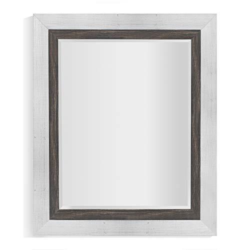 Svitlife Appalachian Charcoal Framed Beveled Wall Mirror Wall Mirror Beveled Antique Frame Wood Style Oak Carved (Solid Oak Framed Beveled)
