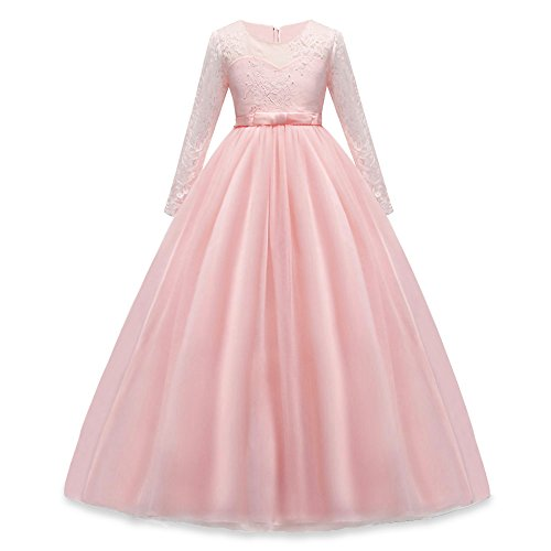 HUANQIUE Girls Lace Pageant Party Dress Wedding Flower Girl Maxi Gowns Long Sleeve Pink 5-6 T