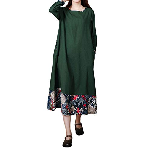 UONQD Women Plus Size Folk-Custom Loose Vest Long Section Sleeveless Dress(Medium,X8-Green)