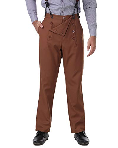 ThePirateDressing Steampunk Victorian Cosplay Costume Architect Men's Pants Trousers