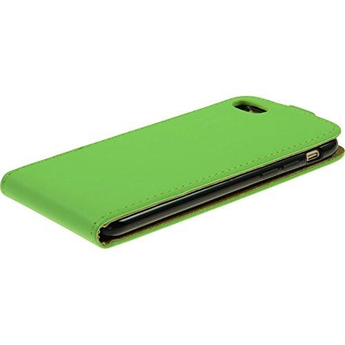Couverture en cuir artificiel pour Apple iPhone 7 - Flip-Case vert - Cover PhoneNatic Cubierta + films de protection