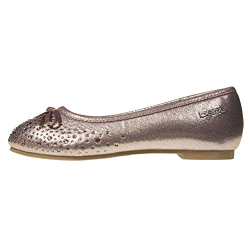 Girls Ballet Flats Size 11 Round Toe Microsuede Perforated Laser Cut with Bow and Rhinestones Slip-On Shoes Flexible PU Leather Blush ()