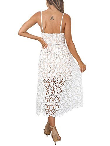 White Sexy Hollow Dress Apparel Party Simplee Out V Lace Neck Women's qwfWPRv
