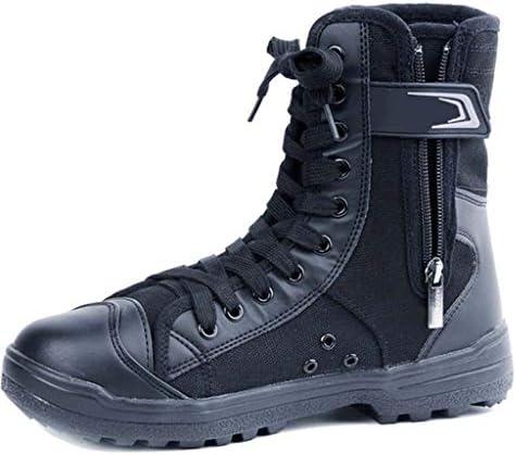 屋外タクティカルブーツブラックアドバンスPuのハイヘルプキャンバスレースアップスタイルの登山靴滑り止め耐摩耗耐久性に優れたラバーソール (色 : 黒, サイズ : 23.5 CM)