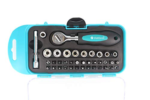 SidiOutil 38Pcs Ratchet Screwdriver Bits Socket Tool Set with Phillips Slotted Hexagon and Torx 1/4 Inches Drive Reversible Drive Handle and Multi Bits Set for Repair Electrical Appliances Bicycle