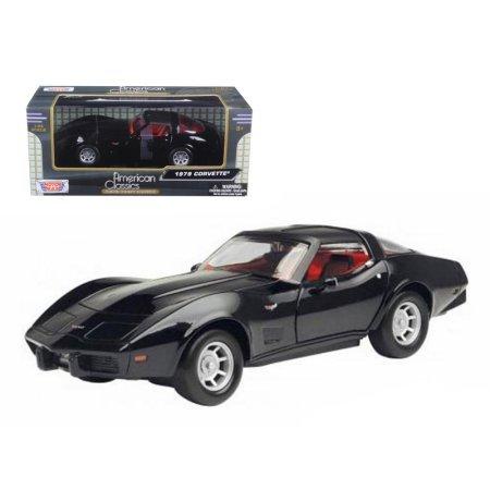 Black Chevy Corvette - Motormax 1979 Chevy Corvette 1/24 Scale Diecast Model Car Black
