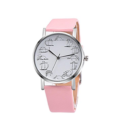 Retro Design Lovely Cartoon Cat Leather Band Analog Alloy Quartz Wrist Watch (Pink) ()