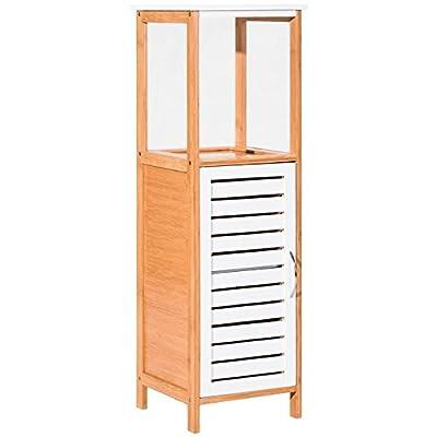 Bamboo Free Standing Bathroom Storage Rack Floor Cabinet Organizer 2 Shelves Ample Storage Space Towel Toiletries Plants Magazines Storage Moisture-Resistant Damp-Proof Home Living Room Bedroom Décor -  - shelves-cabinets, bathroom-fixtures-hardware, bathroom - 41OoKOQb1cL. SS400  -