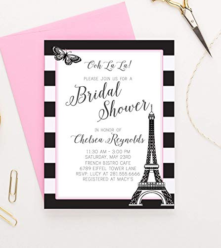 Paris Themed Bridal Shower Invitations, Paris Bridal Shower Invitations, Paris Bridal Shower Invites, Parisian Bridal Shower Invitations, Your choice of Quantity and Envelope Color -