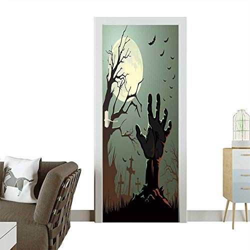 Homesonne 3D Photo Door Murals Halloween Background Easy to Clean and Apply W38.5 x H77 -