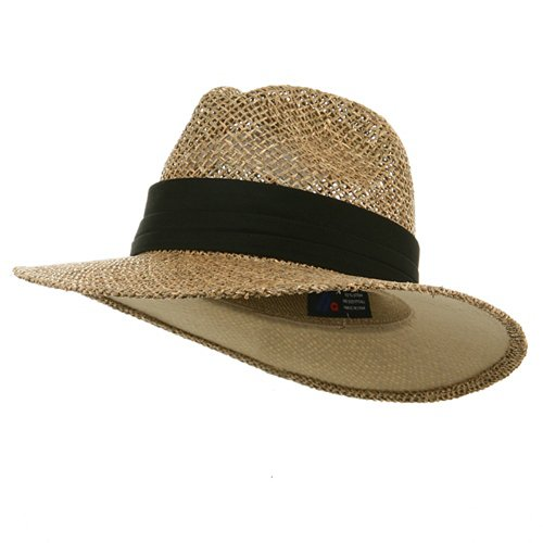 [Safari Straw Hats - Natural Khaki Band] (Straw Safari Hat)