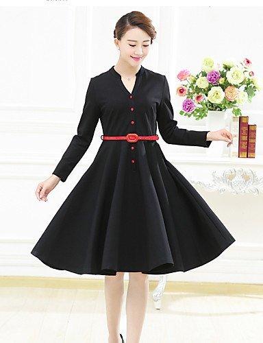 GSP-Damen Kleid - Übergrößen Übergröße / Retro / Leger Solide Übers Knie Baumwolle / Leinen / Polyester V-Ausschnitt