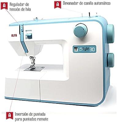 Alfa Hogar Maquina De Coser Alfa Style 30 Zig-Zag,Domestica, Azul: Amazon.es: Hogar
