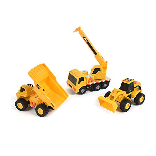 Sunny Days Entertainment Maxx Action Dig Mini Construction Series Toy Vehicles 3 Pack Assortment with Realistic Push Button Lights & Sounds & Moving Parts, Multi