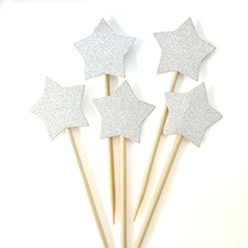 (AimtoHome Glitter Little Star Cupcake Toppers Silver Party Cupcake Decorations for Birthday | Baby Shower | Wedding | Engagement | Graduation | Christmas Party Dessert Decorations Topper, Pack of)