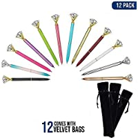 Diamond Ballpoint Pen - (12 Pack) Multi Color Pens Rose Gold with Big Diamond/Crystal and Metal Ball-Point Fun Bling Crystal Pen for Stylish Fancy Office Supplies, Black Ink