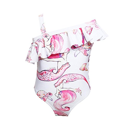 DEESEE(TM)) Toddler Kids Baby Girls Summer Printed Playsuit Swimwear Ruffles Bikini Swimsuit (4T)