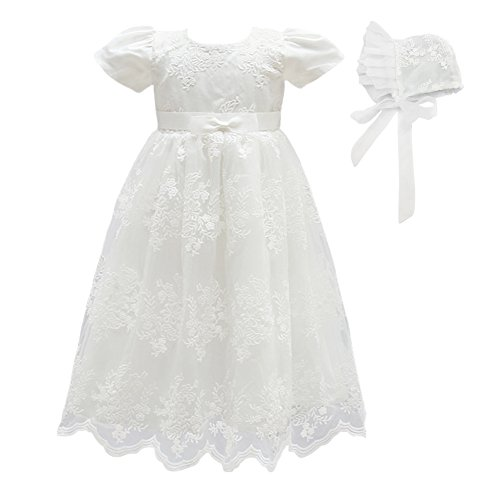 Glamulice Baby Girls Flower Christening Baptism Dress Formal Party Special Occasion Dresses for Toddler (3M / 0-6Months, White-2pcs)